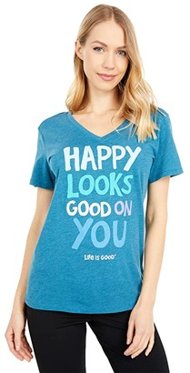Life is Good Happy Looks Good on You Cool Vee (Persian Blue) Women's T Shirt