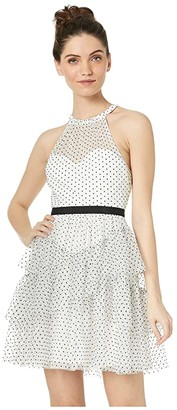 BCBGMAXAZRIA Short Polka Dot Ruffle Dress (Off-White) Women's Clothing