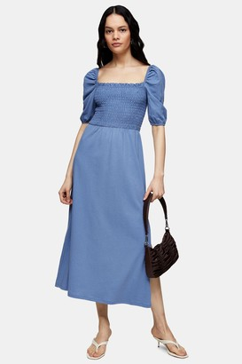 Topshop Shirred Midi Dress