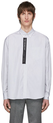 Givenchy White and Black Striped Logo Shirt