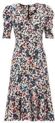 Erdem Ottavia Meadow-print Jersey Dress - Black Print