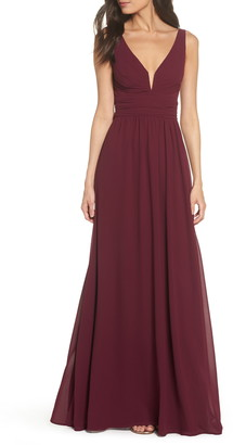 Lulus V-Neck Chiffon A-Line Gown