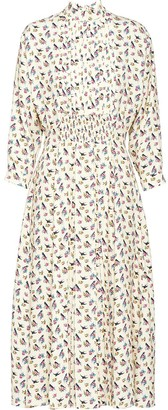 Prada Swallow-Print Midi Dress