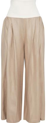 ADEAM Convertible Jersey-paneled Shantung Wide-leg Pants