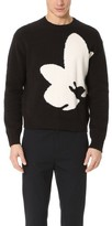 3.1 Phillip Lim Boxy Crew Neck Sweater with Floral Intarsia