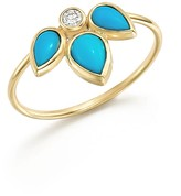 Chicco Zoe 14K Yellow Gold Ring with Turquoise and Diamond