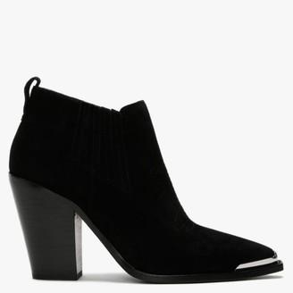 Ash Bonnie Black Suede Toe Cap Western Ankle Boots