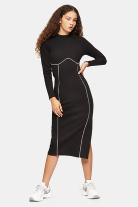 Topshop Black Ribbed Long Sleeve Flatlock Midi Dress