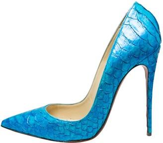 Christian Louboutin So Kate Turquoise Python Heels