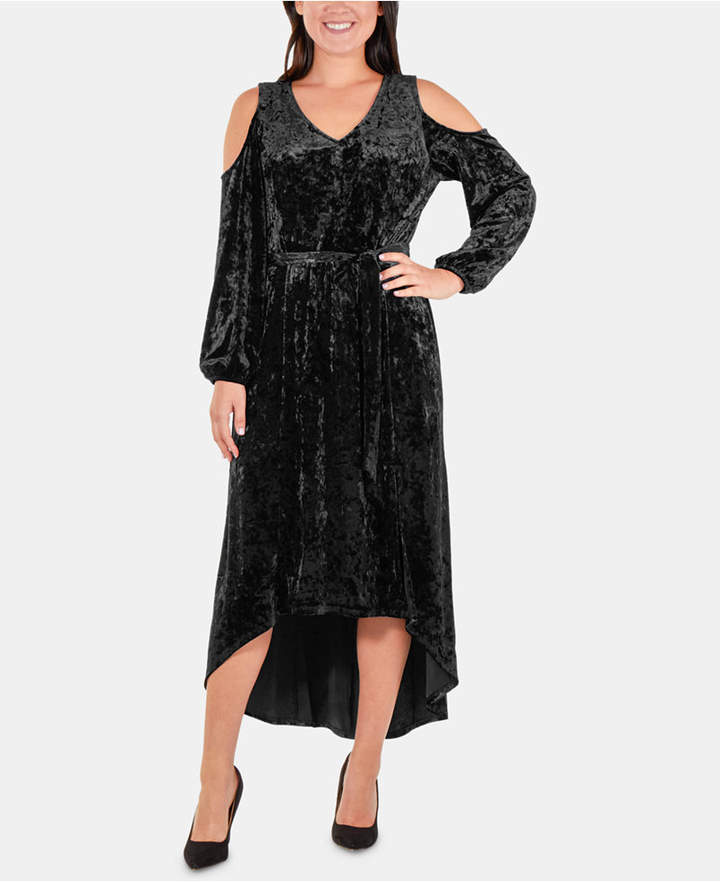 NY Collection Petite Velvet High-Low Cold-Shoulder Dress