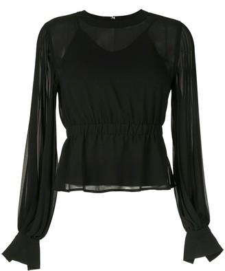 CK Calvin Klein pleated long-sleeve blouse