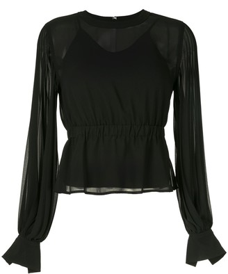 CK Calvin Klein Pleated Long-Sleeve Blouse