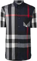Burberry check short sleeve shirt - men - Cotton/Polyamide/Spandex/Elastane - L