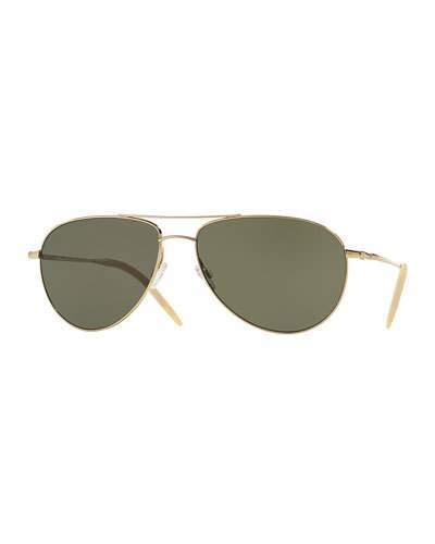Oliver Peoples Benedict Polarized Aviator Sunglasses, Green