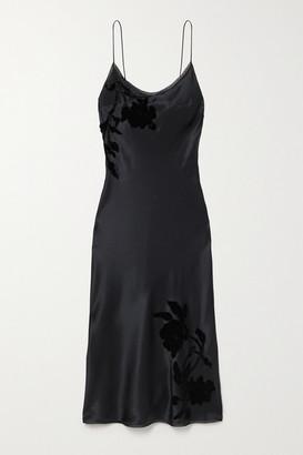 Carine Gilson Appliqued Embroidered Silk-satin Midi Dress - Black