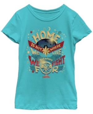 Fifth Sun Marvel Big Girl's Captain Marvel Home Is What We Fight For Short Sleeve T-Shirt