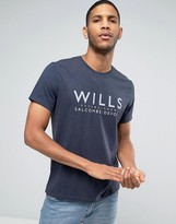 Jack Wills T-Shirt With Wills Print In Navy