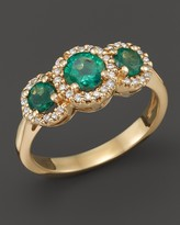 Bloomingdale's Emerald and Diamond 3-Stone Ring in 14K Yellow Gold