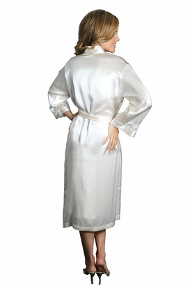Silk Cocoon Women Dressing Gown with Lace Trim - Pure Silk Dressing Gown - Woman Silk Robe -100% Mulberry Silk Nightwear - Crepe Satin Silk- Pure Silk - A27 Pearl Medium