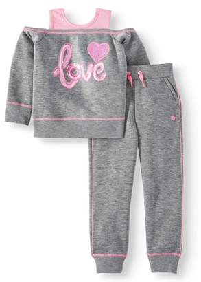 Limited Too Sequin Cold Shoulder Fleece Top and Jogger, 2-Piece Active Set (Big Girls)