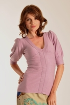 Plenty by Tracy Reese Solid Puff Sleeve Sweater in Mauve