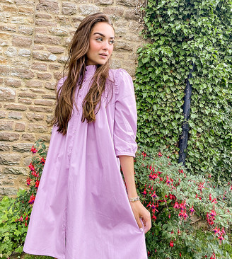 Y.A.S button through smock dress with pleat detail in lilac