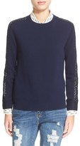 The Kooples Women's Lace Inset Wool & Cashmere Sweater