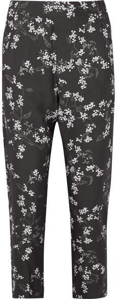 Ann Demeulemeester Floral-print Crepe De Chine Slim-leg Pants - Black