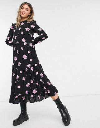 New Look frill sleeve smock midi dress in pink floral