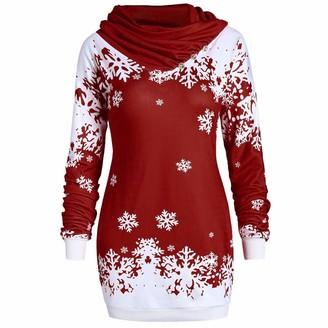 JURTEE Fashion Womens Tops Ladies Merry Christmas Snowflake Printed Tops Cowl Neck Sweatshirt Blouse Festive Gift Wine