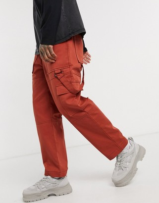 The Ragged Priest utility cargo trousers in rust