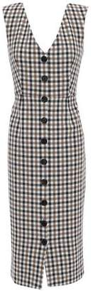 Veronica Beard Gingham Cotton-blend Midi Dress