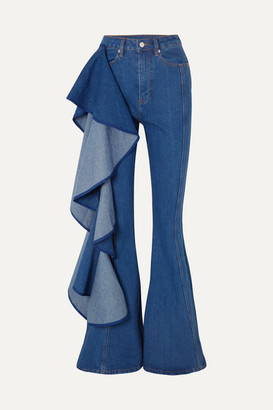 SOLACE London Trumpet Ruffled High-rise Wide-leg Jeans - Mid denim
