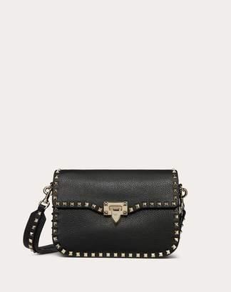 Valentino Garavani Medium Rockstud Grainy Calfskin Crossbody Bag Women Black Calfskin 100% OneSize