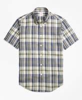 Brooks Brothers Madison Fit Large Plaid Irish Linen Short-Sleeve Sport Shirt