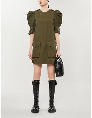 Alexander McQueen Puff-sleeve cotton mini dress