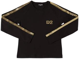 DSQUARED2 Sequined L/s Cotton Jersey T-shirt