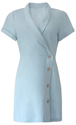 BCBGeneration Faux Wrap Button Side Dress - TSY6294560 (Blue Mist) Women's Dress