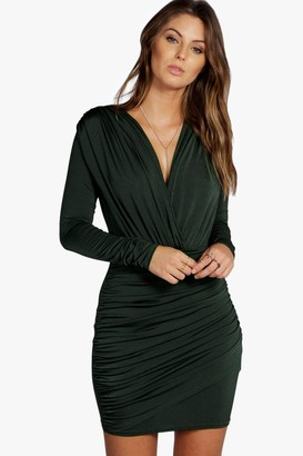 boohoo Slinky Wrap Long Sleeve Bodycon Dress