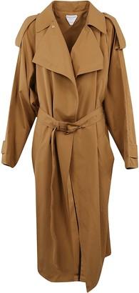 Bottega Veneta Triangular-buckle Long Trench Coat