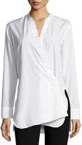 Helmut Lang Asymmetric Overlap Long-Sleeve Shirt, White