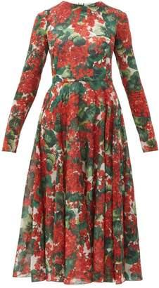Dolce & Gabbana Geranium-print Silk-blend Chiffon Dress - Womens - Red Multi