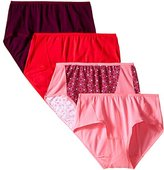 Fruit of the Loom Women's 4 Pack Flexible Fit Mid-Rise Brief Panties