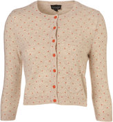 Knitted Oatmeal Polka Dot Crop Cardigan