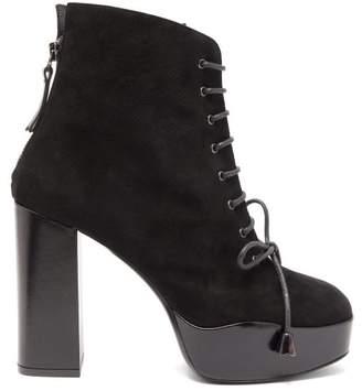 Mae Fabrizio Viti Platform Suede Ankle Boots - Womens - Black