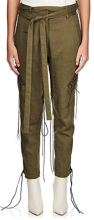 Saint Laurent Women's Cotton-Linen Twill Lace-Up Pants