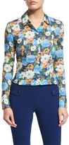 Carven Floral Cotton Voile Blouse, Multicolor