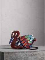 Burberry The Swan - Leather and Ostrich Crossbody Bag, Red