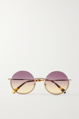 Miu Miu Round-frame Crystal-embellished Gold-tone And Tortoiseshell Acetate Sunglasses - Pink