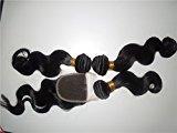 "HairPR Hair 100% Mongolian Virgin Human Hair 1 Closure (4x4)+3 Bundles 10""-28"" Body Wave Natural Color Can be dyed"